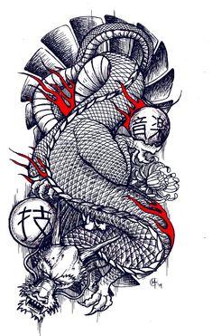 Traditional Japanese Dragon tattoo design by miketooch.deviantart.com on @DeviantArt