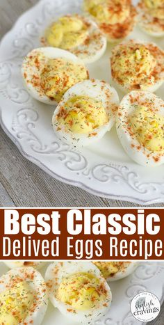 Classic Deviled Eggs The perfect low carb appetizer recipe that everyone loves! appetizerrecipe lowcarbrecipes ketoappetizer ketorecipes ketodiet partyfood deviledeggs deviledeggsrecipe deviled is part of Deviled eggs classic - Delived Eggs Recipe, Devilled Eggs Recipe Best, Best Deviled Eggs, Deviled Eggs With Cream Cheese Recipe, Perfect Deviled Eggs, Classic Deviled Eggs, Best Deviled Egg Recipe Ever, Egg Recipes, Clean Eating Snacks
