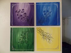 Four flower paintings I did together. I like how they turned out. :)