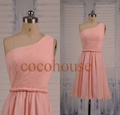 Hey, I found this really awesome Etsy listing at https://www.etsy.com/listing/195333583/short-one-shoulder-pink-bridesmaid