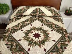 Lone Star Log Cabin Quilt - the quilting on this is beautiful                                                                                                                                                                                 More