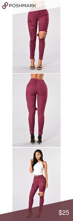 Burgundy Wine Denim Jeans Pants EUC 13 Worn once and in excellent condition. Runs small in my honest opinion. Jeans Skinny