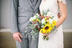 Rustic sunflower bridal bouquet