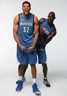 Karl-Anthony Towns and Kevin Garnett of the Minnesota Timberwolves pose during a photo shoot for a regional cover of the Sports Illustrated NBA Preview issue on Oct. 6, 2015. (Todd Rosenberg for...