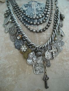 Necklace - Religious relics mingle w/ rhinestone buttons, weathered pearls & a tiny skeleton key dangling from a length of glass bead chain. Jewelry Crafts, Jewelry Art, Vintage Jewelry, Jewelry Accessories, Handmade Jewelry, Jewelry Necklaces, Jewelry Design, Bracelets, Jewlery