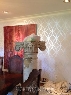 We have completed so many beautiful projects I wanted to share. so many people think we only work in entire homes but many times we fluff just one room, one cabinet or one piece of furniture!! Each project is just as special to me!!! Stenciling over plaster with metallic paint gives the most romantic glow …
