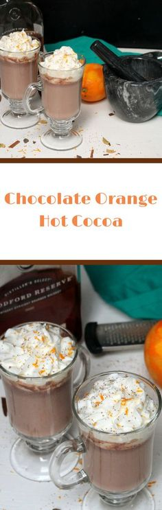 Chocolate Orange Hot Cocoa Recipe - decadent gourmet hot cocoa recipe that can be kid-friendly or bourbon added for adults via Heather McCurdy Hot Cocoa Recipe, Cocoa Recipes, Hot Chocolate Recipes, Decadent Chocolate, Chocolate Orange, Cookie Recipes, Drink Recipes, Dessert Recipes, Holiday Drinks