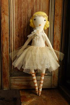 Handmade Rag Dolls by Gaiia Kim, One-of-a-Kind Cloth Doll, Ballerina No 57