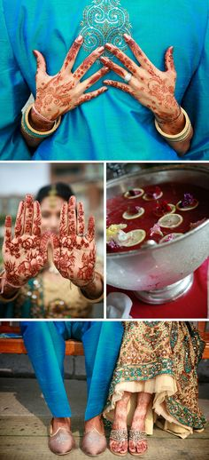 Love the henna hands on back of groom shot! blue & red & cream <3 #weddingphotography