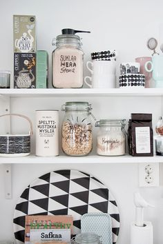 open shelving + labeled jars