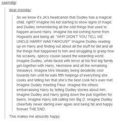 """And then Harry gets killed in a car crash because Dudley wouldn't admit he was too drunk and wanted to go back the """"old fashioned way""""."""