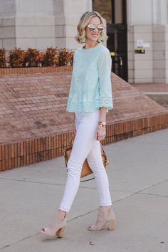 mint for spring, mint eyelet peplum top with white jeans and peep toe booties