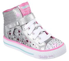 Starry+wishes+for+fun+fashion+come+true+with+the+SKECHERS+Twinkle+Toes:+Shuffles+-+Starry+Spirit+shoe.++Metallic+painted+canvas+fabric+upper+in+a+lace+up+casual+light+up+high+top+sneaker+with+glitter+fabric+overlays+and+star+sequin+detail.