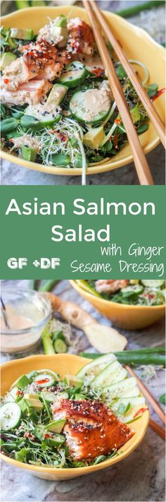 Asian Salmon Salad with sesame ginger dressing (+ avocados, + cucumbers) makes for the perfect summer lunch. High in protein and packed full of nutrients and that ginger sesame flavor. Gluten Free and Dairy Free too. Ready in 15 mins. | avocadopesto.com