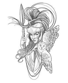 Greek Goddess Tattoo, Greek God Tattoo, Greek Mythology Tattoos, Aphrodite Tattoo, Athena Tattoo, Medusa Tattoo, Traditional Tattoo Black And White, Traditional Tattoo Art, God Tattoos