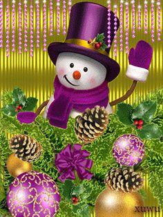 CHRISTMAS SNOWMAN HELLO GIF