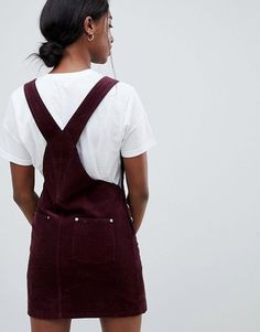 ASOS DESIGN Tall cord dungaree dress in oxblood at ASOS. Dungaree Dress, Dungarees, Asos, Tall Dresses, Yes To The Dress, Overall Dress, Oxblood, Online Shopping Stores, Western Wear