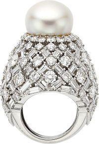 David Webb South Sea Pearl, Diamond and Platinum Ring