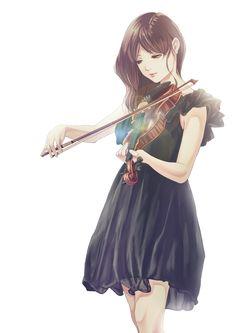 Аниме картинка 1400x1980 с  оригинальное изображение kinoebi длинные волосы single высокое изображение каштановые волосы простой фон белый фон смотрит в сторону складка девушка платье чёрное платье инструмент короткие рукава скрипка