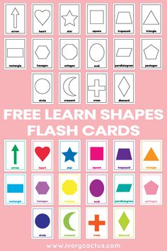 Shapes Flash Cards Kids Toddlers Preschool EYFS Early Learning Resource Sen