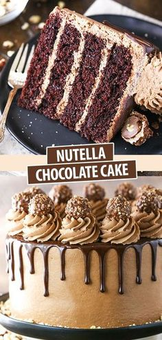 This Nutella Chocolate Cake is a delicious combination of an incredibly moist chocolate cake and a sweet, delicious Nutella icing, all covered in chocolate ganache! Nutella Chocolate Cake, Chocolate Cake Recipe Easy, Homemade Chocolate, Delicious Chocolate Cake, Easy Nutella Recipes, Chocolate Dishes, Nutella Cupcakes, Nutella Birthday Cake, Recipes