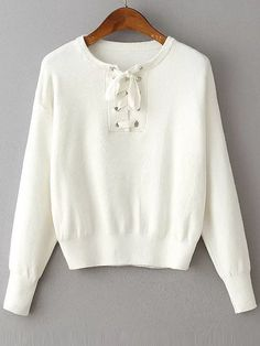 Buy White Eyelet Lace Up Drop Shoulder Sweater from abaday.com, FREE shipping Worldwide - Fashion Clothing, Latest Street Fashion At Abaday.com