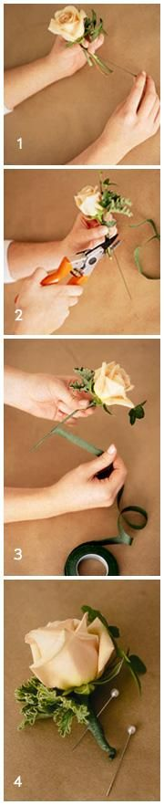 Simple, but pretty DIY Boutonnieres