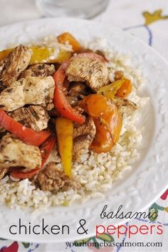 A quick and easy dinner idea that is both pretty & delicious - Balsamic Chicken & Peppers.