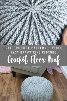 Free crochet pattern to make a floor pof for you r home or office.  Easy Drawstring closure and insert. Crochet Pouf Pattern, Crochet Cushions, Diy Crochet Pouf, Free Crochet Blanket Patterns Easy, Simple Crochet Blanket, Simple Knitting Patterns, Crochet Floor Cushion, Crochet Circle Pattern, Knitted Pillows