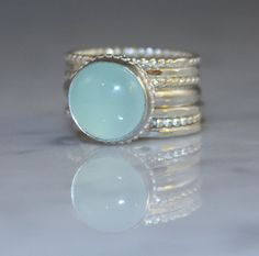 Aqua Chalcedony gemstone with 7 Sterling silver stacking rings, Custom made on Etsy, $165.00