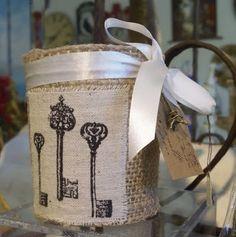 burlap covered jars