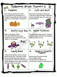 Halloween Math Brain Teasers -Tease their brain this Halloween $