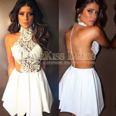 White Cocktail Dresses High Neck Lace Party Dresses See Though Back Sexy Homecoming Dresses Custom Made Graduation Dress