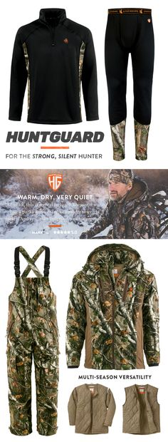 Stay warm and dry with our exclusive HuntGuard line of cold weather hunting apparel. Shop our versatile hunting jackets, bibs, and base layers. Camo Clothes, Hunting Clothes, Hunting Tips, Deer Hunting, Quiet Confidence, Camo Outfits, Cold Gear, Long Weekend, Archery