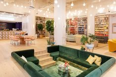 Interior designer Chiara De Rege has aimed to create a cosy atmosphere at the Brooklyn location of The Wing, a women-only co-working space that is expanding rapidly across New York.