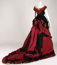 "Dress (Ball Gown), ca late 1870s, Made by Elise, ""dressmaker to HRH the Princess of Wales."""