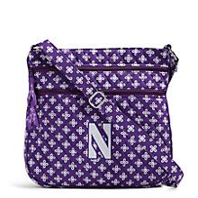 Triple Zip Hipster Crossbody in Purple/White Mini Concerto with Northwestern Logo | Vera Bradley