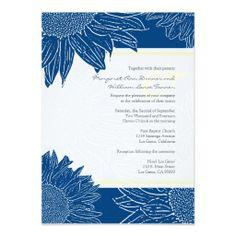 custom::Sunflower Wedding Invite: Yellow 106 Navy  #modern wedding,  #elegant wedding,  #formal wedding,  #family wedding,  #budget wedding,  #romantic wedding. #invitations, #wedding invitations, #timelesstreasure