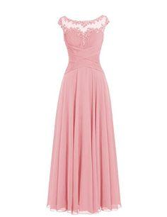 Dresstells® Long Chiffon Scoop Prom Dress with Appliq…