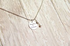 Muscles and Mascara Dumbbell Hand Stamped by BeastModeJewelry