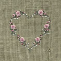Jo Butcher, Embroidery Artist - Rose & Lily of the Valley Heart
