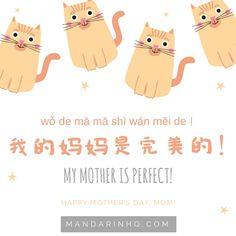 我的妈妈是完美的!你的呢?wǒ de mā mā shì wán měi de! nǐ de ne? ❤️母亲节快乐!mǔ qīn jié kuài lè!(Happy Mother's Day! ) MORE: https://mandarinhq.com/ #learnchinese #mandarinhq #mothersday #festival #mymotherisperfect #happymothersday #chinesephrases