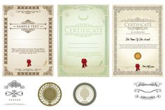4 Vintage Vector Certificates and Diplomas Set - http://www.welovesolo.com/4-vintage-vector-certificates-and-diplomas-set/