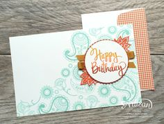 Ever think of stamping the back of your cards? Try with the Paisleys and Posies Stamp Set - Cindy Schuster