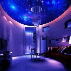 Star ceiling circular woven wallpaper ceiling wallpaper for Ceiling mural in smokers lounge