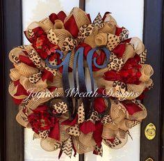 "Large 32"" Burlap Wreath with Burgundy Hydrangeas, Leopard Print, Swirly, Chevron, & Polka Dot Ribbons, and Vine Script Letter  Jayne's Wreath Designs on FB and Instagram."