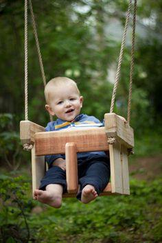 Baby Swing or Toddler Swing - Redwood and Cedar Handmade Porch or Tree Swing - Child's Swing - Kids Swing - Wooden Swing. $50.00, via Etsy.