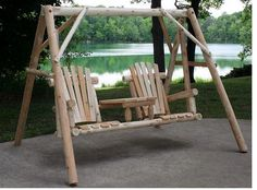 Get double the swinging action when you order a Rustic White Cedar Log Tête-à-Tête Swing Set from Outdoor Furniture Plus. The swing comes with an A-frame
