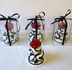 custom wedding mini cakes toronto fondant white black red roses [would love these as favors]