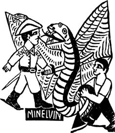 João Acaba-Mundo e a serpente negra - xilo de MINELVINO
